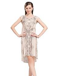 100% seda vestido de manga curta das mulheres Jianzi