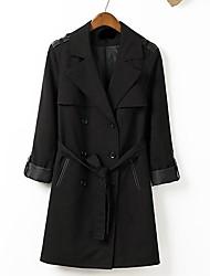 m&lapela estilo de trabalho l das mulheres pode rolar manguito inculding cintos casacos de manga longa