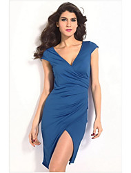 Women's Blue Ruched Wrap Midi Dress