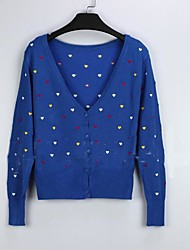 Women's Blue/Red/Black/Gray Cardigan , Casual Long Sleeve