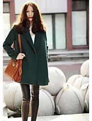 Women's New European Style Elegant Long Sleeve Woolen Overcoat