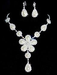 Schmuck-Set Damen Hochzeit / Party Schmuck-Set Perle / Legierung / Strass Strass Halsketten / Ohrringe Silber