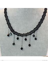 queda de moda colar (geométrico) gola de renda (preto) (1 pc)