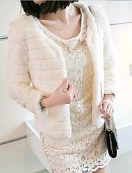 De Yinbo winter vrouwen mode konijn bont leren jas