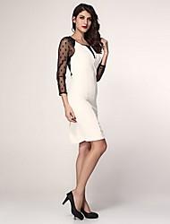Women's Polka Dot White Dress , Lace/Work/Bodycon U Neck Long Sleeve Mesh