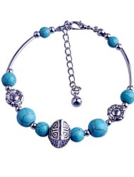 Lureme®Turkey Blue Tophus Round Bead Alloy Box Bracelet