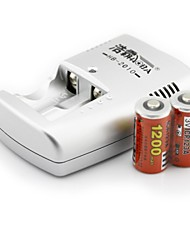 HAOBA 2PCS ICR123A 3V 1200mAh Rechargeable Ni-MH Batteries with US Plug Charger