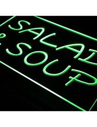 salada I453 e sopa de café restaurante sinal de luz neon