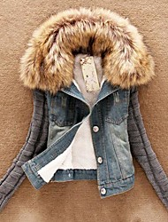 Women's Knit Sleeve Denim Jacket with Faux Fur Collar