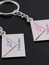 The Envelope Shape  Metal Silver Keychain Toys