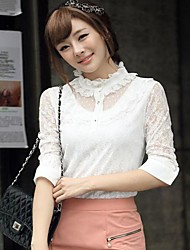 Women's Stand Collar Puff/Balloon Lace Long Sleeve Shirt