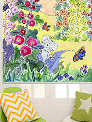 Modern Ink Painting Style Cartoon Flowers & Mouse Roller Shade