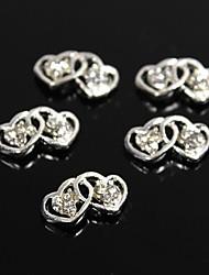 10шт серебро двойной полые сердце хрустальные стразы 3d сплава украшения искусства ногтя