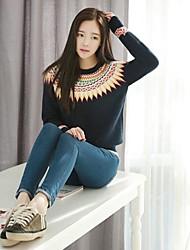 Women's Round Long Sleeve Loose Knitwear Pullover Sweater