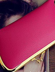 Soft Han Edition Litchi Grain New Lady'S Purse Candy Color Wallet Restoring Ancient Ways Lady Hand Bag Purse Fuchsia