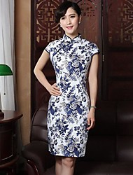 Women's Formal Vintage Sheath Dress,Floral Stand Above Knee Short Sleeve Blue Silk / Cotton Summer
