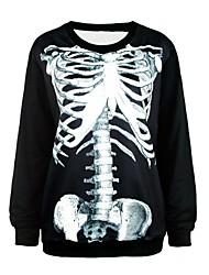 PinkQueen® Women's Spandex White Body Bone Printed Sweatshirt