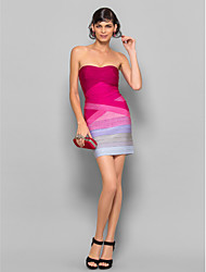 Dress - Multi-color Petite Sheath/Column Strapless Short/Mini Silk
