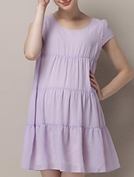 Maternity Round Collar Chiffon Lady Dress