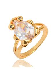 Women's Fashion Cute Frog Design 18K Gold Zircon Ring