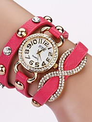 Women's Round Diamond Dial Pu Leather Band Love Bowknot Pendant Quartz Analog Fashion Waist Watch Cool Watches Unique Watches