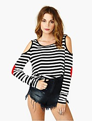 Women's Stripe Long Sleeveless Blouse Top T-Shirts