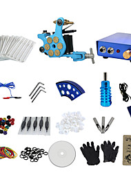 1 Gun Complete No Ink Tattoo Kit with Bullet Blue Tatoo Machine and Blue Aluminium Alloy Power Supply