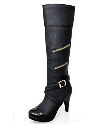 botas altas das sapatas do salto stiletto qq forma joelho couro mulheres mais cores disponíveis