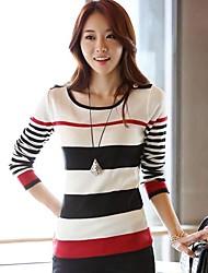Frauenrunde Streifen Strickpullover Pullover
