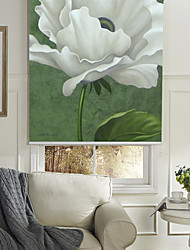 Oil Painting Style Realistic White Flower Roller Shade