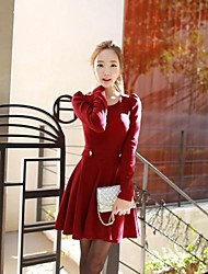 Women's Solid Red Dress , Bodycon/Casual/Cute/Plus Sizes Round Neck Long Sleeve