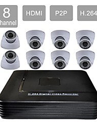 8 Channel HDMI CCTV DVR 8 Indoor Vision Security Camera System Kit 632-36CA08V