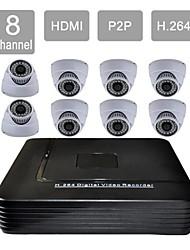 8 canales cctv hdmi dvr 8 indoor seguridad de la visión kit sistema de cámaras 632-36ca08v