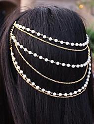 Shixin® Classic Pearl Handmade Tassel Golden Headband(1 Pc)