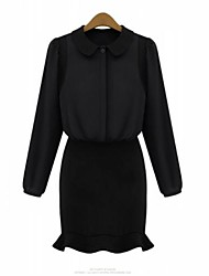 Women's Going out Plus Size Shift Dress,Solid Shirt Collar Mini Long Sleeve Black Spring / Summer / Fall / Winter