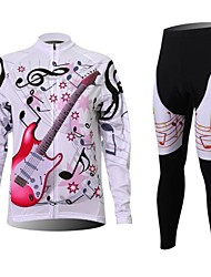 XINTOWN Men's Guitar Quick Dry Moisture Absorption Long Sleeve Cycling Suit—Red+White
