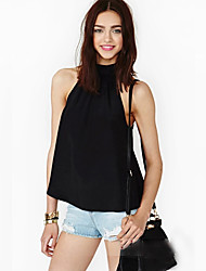 Abigail Off The Shoulder Backless Sleevless Loose Fit Black Shirt