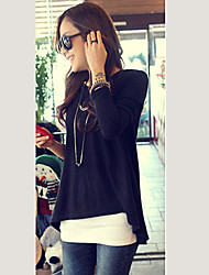 sw élégante couleur pure ourlet asymétrique t-shirt
