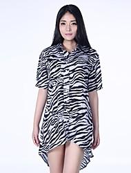zèbre rayures de femmes haoduoyi® Roll-up manches turn-down robe de Forktail collier