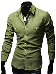 REVERIE UOMO Western Style Cotton Linen Solid Color Long Sleeve Man's Shirts