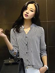 stripe manga longa mostra de roupas femininas camisa fina