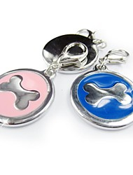 Big Sliver Bone Shape Print Tag Accessory for Collars for Pets Dogs