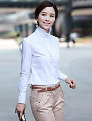 Women's Formal Simple / Street chic Spring / Fall Shirt,Solid Stand Long Sleeve White Cotton Medium