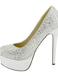 Calçados Femininos - Saltos - Plataforma / Sapatos com Bolsa Combinando - Salto Agulha - Prateado - Courino - Social / Festas & Noite