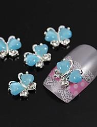 10pcs borboleta com pedra olho 3d liga nail art decoração do gato azul do vôo