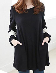 Women's Medium Style Loose Long Sleeve Cotton Shirt