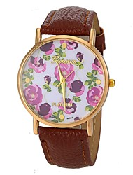 Women's Fashion Style Flower Pattern PU Band Quartz Wrist Watch (Assorted Colors) Cool Watches Unique Watches