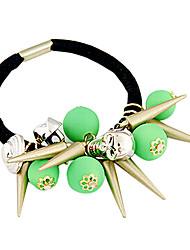 Punk Fluorescent Beads Skull Taper Shape Hair Ties Random Color