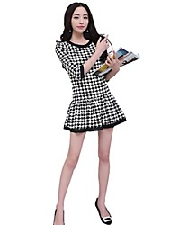 Maternity Fashion Round Collar Princess Temperament Houndstooth Mid-Sleeve Dress