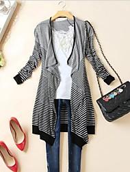 Women's Casual Stripe Long Shawl Cardigan Outerwear